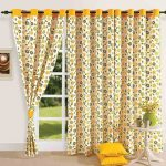 Floral Yellow Pattern Door Curtain