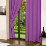 Roya lilac plain cotton curtains with 8 eyelets for long door