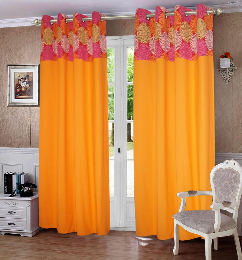 Spiral Printed Bloomberry Cotton Curtains For Door Set Pc