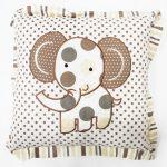 Embroidery Cushion with Frill